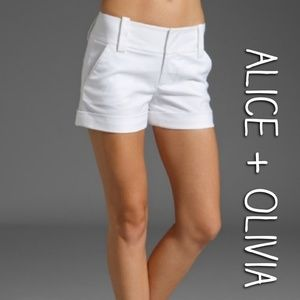 Alice+Olivia Candy Cuff Whyte stretch shorts